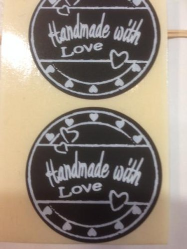 Etiket sticker 'Handmade with love - zwart'